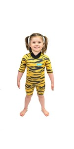 2021 Saltskin Junior 2mm Back Zip Shorty Wetsuit STSKNTGR02 - Tiger