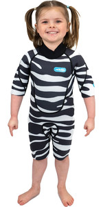 2021 Saltskin Junior 2mm Back Zip Shorty Wetsuit STSKNZBR02 - Zebra