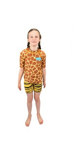 2021 Saltskin Junior Short Sleeve Rash Vest STSKNGRFF04 - Giraffe
