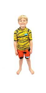 2021 Saltskin Junior Short Sleeve Rash Vest STSKNTGR04 - Tiger