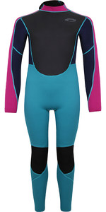 2021 Typhoon Junior Storm3 3/2mm Back Zip Wetsuit 25092 - Aqua / Fuchsia / Navy