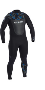 2021 Typhoon Mens Vortex 3mm Chest Zip Wetsuit 250741 - Black / Rich Blue