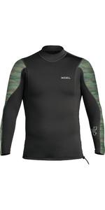 2021 Xcel Heren Axis 2/1mm Wetsuit Top Met Lange Mouwen Mn216ax0c - Zwart / Camo