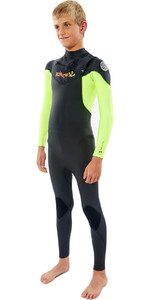 2021 Rip Curl Júnior Dawn Patrol 3/2mm Gbs Wetsuit Chest Zip Wsm9kb - Fluro Limão