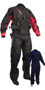 2020 Gul Mens Dartmouth Eclip Zip Drysuit + Underfleece GM0378-B5 - Black / Red