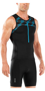 2018 2XU Active Tri Singlet BLACK / RETRO DRESDEN BLUE MT4863a