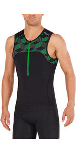 2018 2XU Active Tri Singlet BLACK / RETRO JOLLY GREEN MT4863a