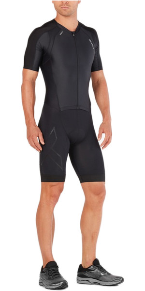 2018 2XU Compression Full Zip Short Sleeve Trisuit BLACK / BLACK MT4838d