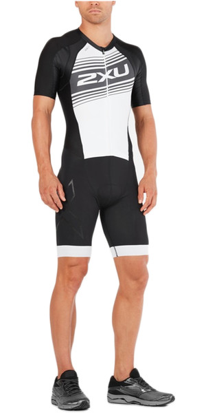 2018 2XU Compression Full Zip Short Sleeve Trisuit BLACK / WHITE LOGO MT4838d