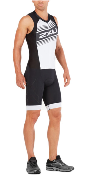 2018 2XU Compression Full Zip Sleeveless Trisuit BLACK / WHITE LOGO MT4839d
