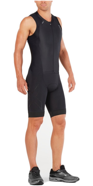 2018 2XU Compression Full Zip Sleeveless Trisuit BLACK / BLACK MT4839d