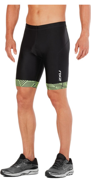 "2018 2XU Perform 9 ""Tri Shorts NEGRO / NEON GREEN MT4854b"
