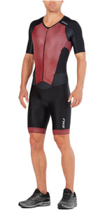 2018 2XU Perform Full Zip Short Sleeve Trisuit BLACK / KONA TEAM RED MT4847d