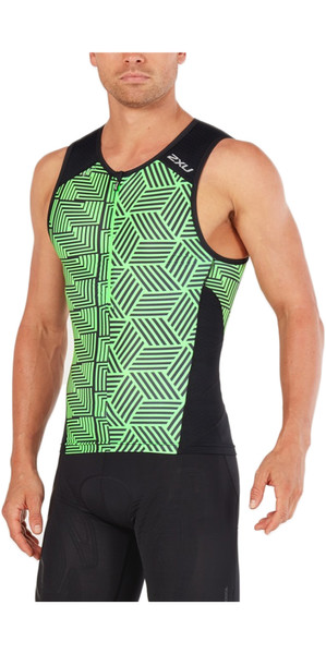 2018 2XU Perform Tri Single BLACK / NEON GREEN MT4851a