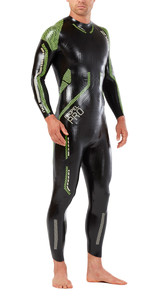 2018 2XU Propel Pro Triathlon Wetsuit BLACK / NEON GREEN GECKO MW5124c