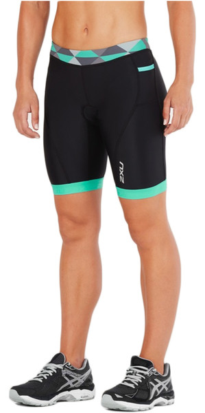 "2018 2XU Women Active 7 ""Tri Shorts NEGRO / RETRO AQUA GREEN WT4868b"
