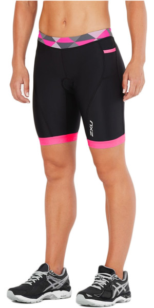 "2018 2XU Women Active 7 ""Tri Shorts NEGRO / RETRO PINK PEACOCK WT4868b"