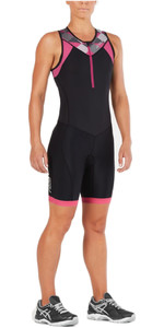 2XU Womens Active Front Zip Trisuit BLACK / RETRO PINK PEACOCK WT4865d