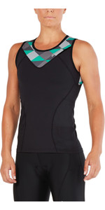 2XU Womens Active Tri Singlet BLACK / RETRO AQUA GREEN WT4866a