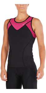 2018 2XU Womens Active Tri Singlet BLACK / RETROPINK PEACOCK WT4866a