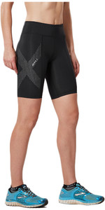 2XU Womens Mid-Rise Compression Short BLACK / REFLECTIVE SPOT WA3027b