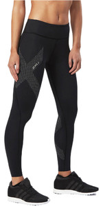 2018 2XU Womens Mid-Rise Compression Tight BLACK / REFLECTIVE SPOT WA2864b