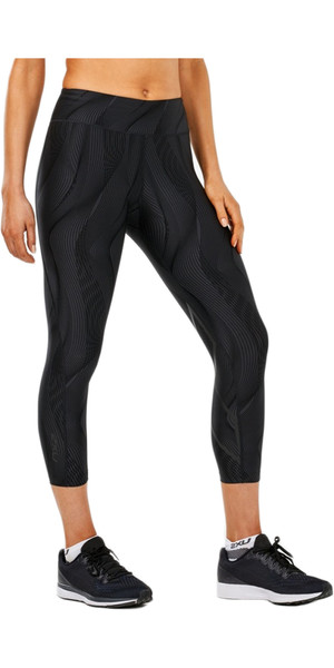 2018 2XU Womens Mid-Rise Print 7/8 Compression Tights BLACK VERTICAL CURVE WA4629b