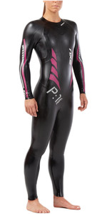 2019 2XU Womens P: 1 Propel Triathlon Wetsuit BLACK / PINK PEACOCK WW4994c