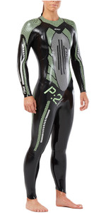 2XU Womens P:2 Propel Triathlon Wetsuit BLACK / MINT GREEN WW4993c