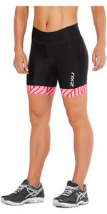"2018 2XU Dame Udfør 7 ""Shorts BLACK / ROSE PINK TIDE WT4861b"