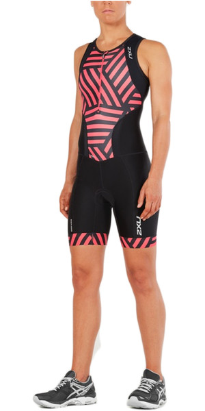 2018 2XU Womens Perform Front Zip Trisuit NEGRO / GEO MELON WT4855d