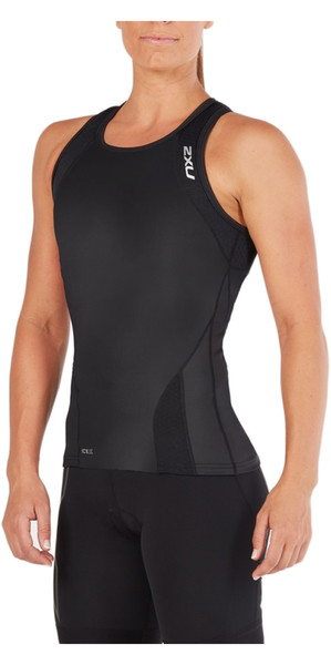 2018 2XU Damen Perform Triathlon Singlet SCHWARZ WT4857a