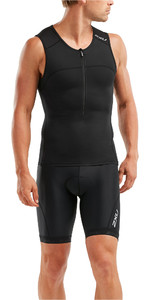 2019 2xu Mænds Active Tri Singlet / Vest Sort Mt5541a
