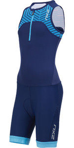 2019 2xu Junior Active Halv Zip Trisuit Navy / Aeroblue Lapis Print Ct5543d