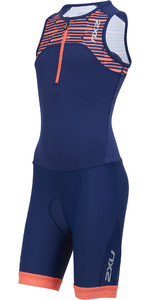 2019 2xu Junior Active Halv Zip Trisuit Navy / Sherbert Print Ct5543d