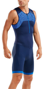 2019 2XU Mens Active Half Zip Trisuit Navy / Lapis Blue MT5540d