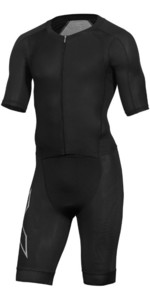 2019 2XU Mens Compression Full Zip Kurzarm Trisuit Schwarz MT5516d