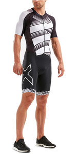 2019 2XU Mens Compression Full Zip Manica corta Trisuit Black / White Lines MT5516d