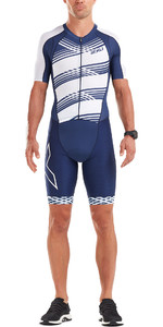 2019 2XU Herren Compression Full Zip Kurzarm Trisuit Navy / White Line MT5516d
