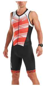 2019 2XU Herencompressie Full Zip Mouwloos Trisuit Zwart / Wit Flame MT5517d