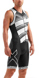 2019 2XU Herencompressie Full Zip Sleeveless Trisuit Zwart / Wit Lijnen MT5517d