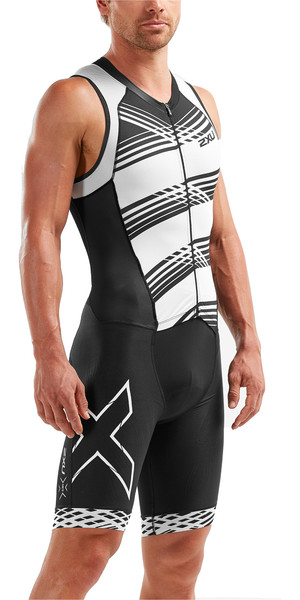 2019 2XU Mens Compression Full Zip Sleeveless Trisuit Black / White Lines MT5517d