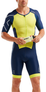 2019 2XU Mens Perform Front Zip Short Sleeve Trisuit Navy / Limade MT5525d