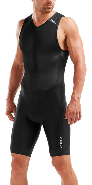 2019 2XU Mens Perform Front Zip Sleeveless Trisuit Black MT5526d