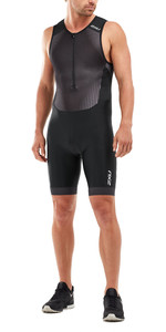 2020 2xu Uomini Perform Piena Mt5526d Zip Senza Maniche Trisuit - Nero / Shadow