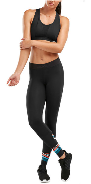 2019 2XU Womens Accelerate Comp Tights Black / Sherbert WA5372b