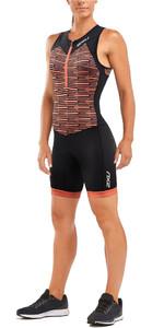 2019 2XU Womens Active Half Zip Trisuit Black / Sherbert Line WT5546d