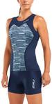2019 2xu Damen Active Tri Unterhemd Navy / Aquasplash Wt5547a