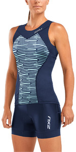 2019 2xu Damen Active Tri Unterhemd Navy / Aquasplash Wt5547a