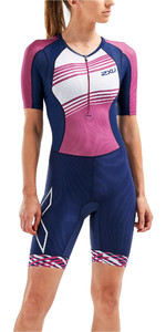 2019 2XU Womens Compression Full Zip Short Sleeve Trisuit Navy / Very Berry WT5521d